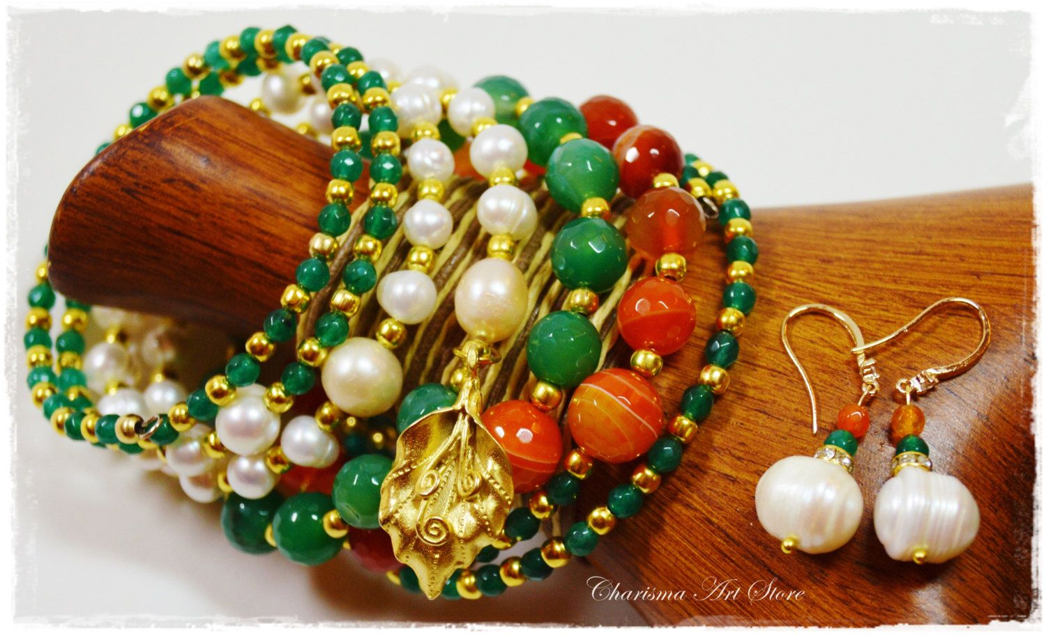 "Orange & Green Jewelry set ""Margo"" by Charisma Art Store, wide memory – colorful bracelet and earrings, agate, pearl. by CharismaArtStore on Etsy"