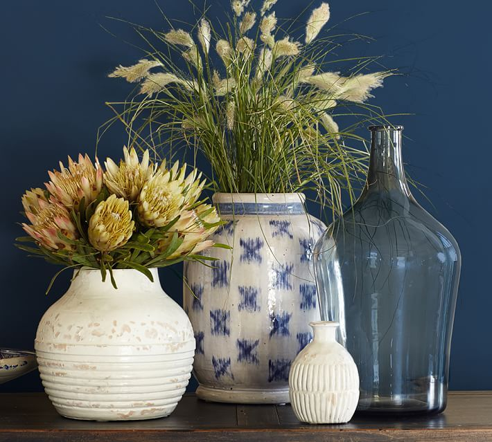 Blue Ikat Terra Cotta Vase Jar Lanterns Candleholders And