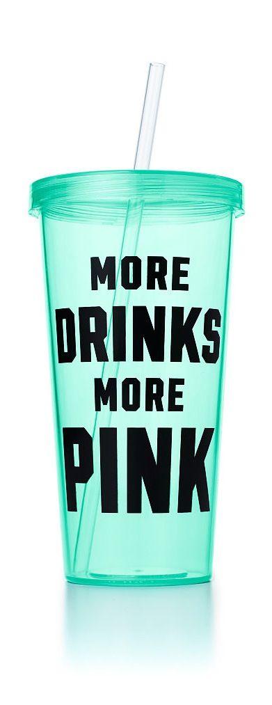 "VS PINK ""More Drinks More Pink"" Tumbler in Seafoam"