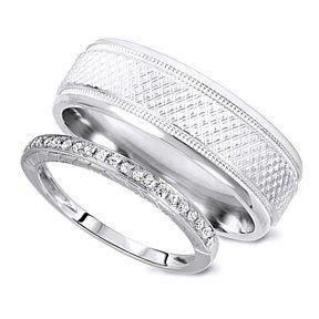 5a777b69823 1 8 Carat T.W. Rounds Cut Diamond His And Hers Wedding Band Set 14K White