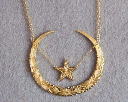 CELESTIAL NECKLACE This intricately detailed necklace is cast from an expert hand-engraving. Inspired by Victorian iconography symbolizing rebirth, it's a reminder that every day's a new day.   Chic & Chambray