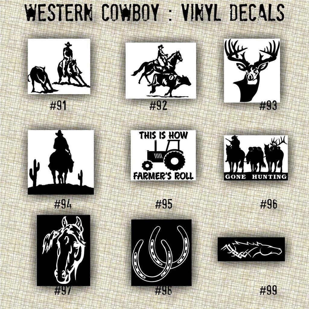 Xsmall 3 Quot 4 Quot Cowboy Vinyl Decals 91 117 Car Decals Laptop Sticker Decal Sticker West Vinyl Decals Car Decals Vinyl Vinyl Decal Stickers