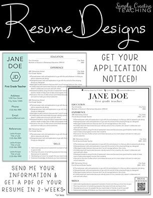 Beautiful resume design from Simply Creative Teaching Fab Fonts - beautiful resume designs