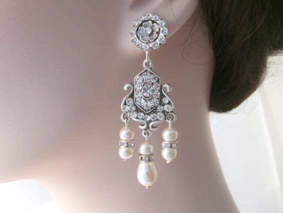 Bridal chandelier earrings-Vintage inspired Art deco by xxyz