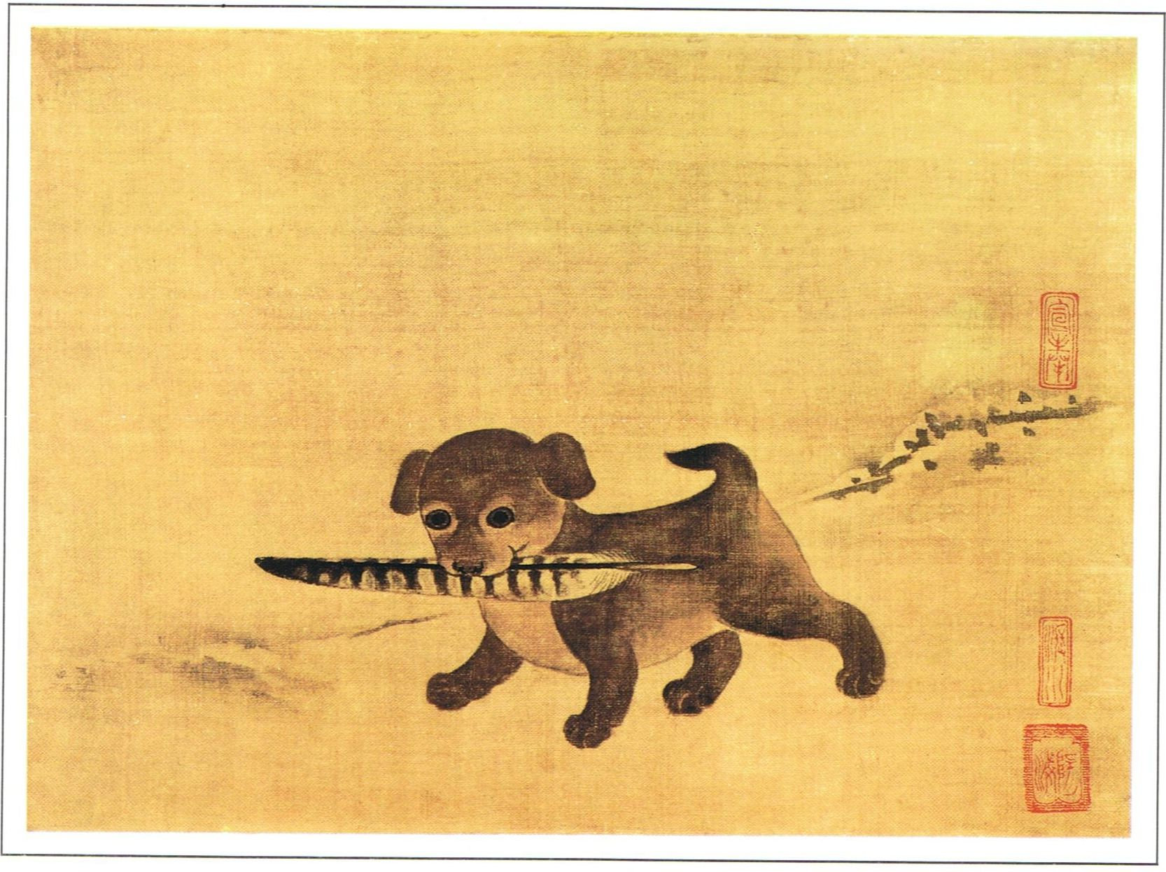 Puppy Playing with a Pheasant Feather - 이암 | 이암 Ли Ам 16 cent ...