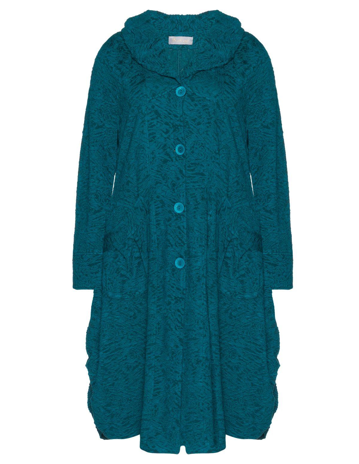 Kekoo Coat With Textured Pattern Navabi Lagenlook