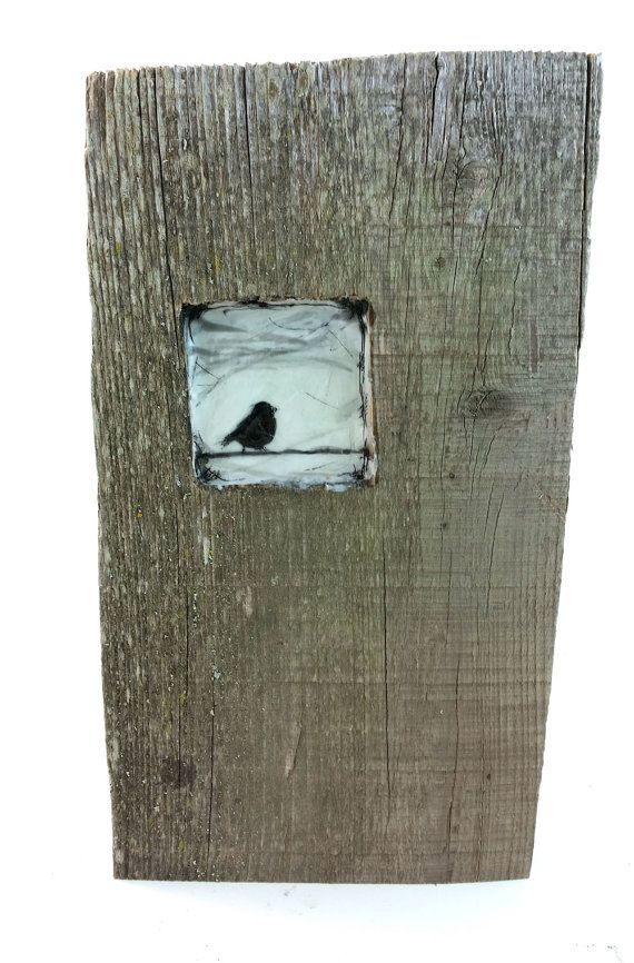 Hiding places - Black Bird - original encaustic mixed media carved in reclaimed barn wood