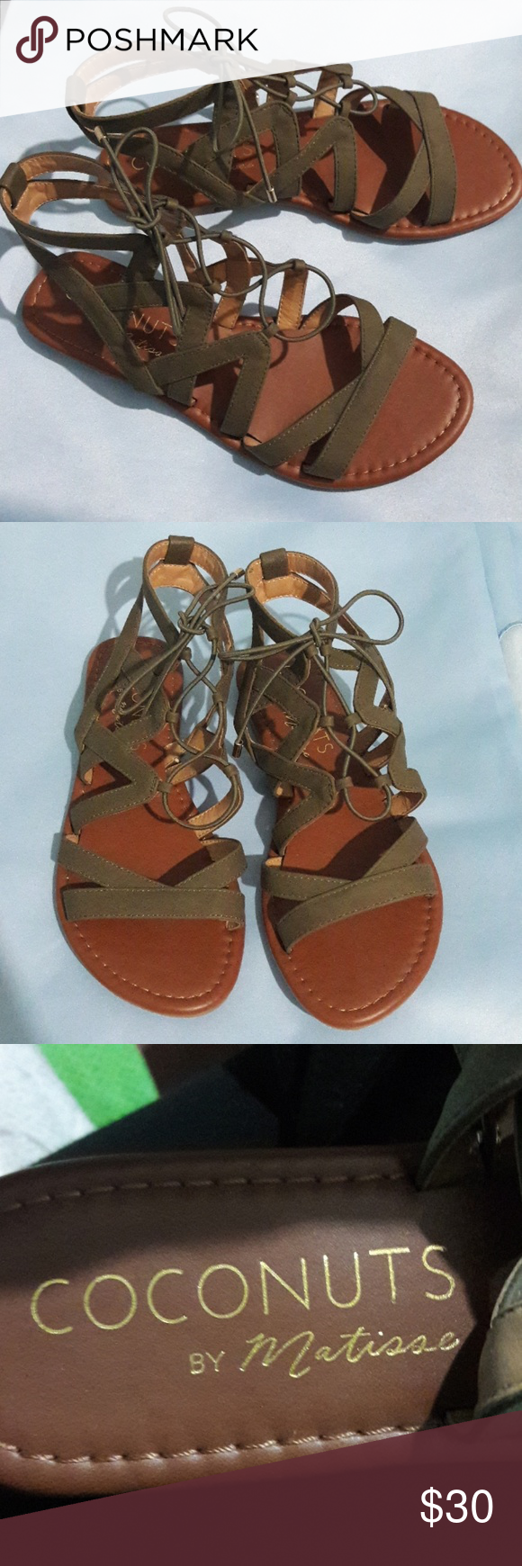 nice cheap better latest discount Coconuts by Matisse Olive Gladiator Sandals New without box ...