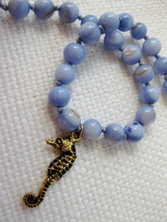 Sealife Blue -  handknotted blue and gold coastal bracelet with gold seahorse charm by SeaSideStrands