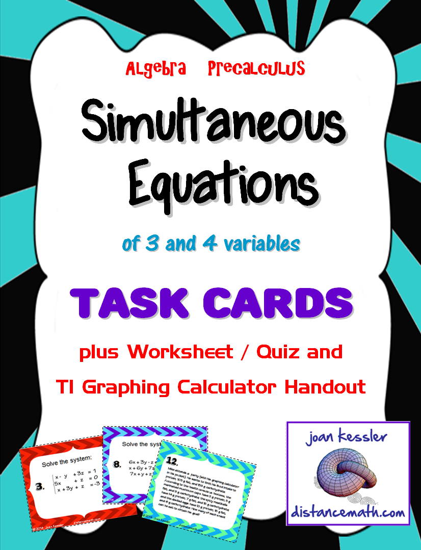 Solving Systems of Equations with 3 Variables Task Cards