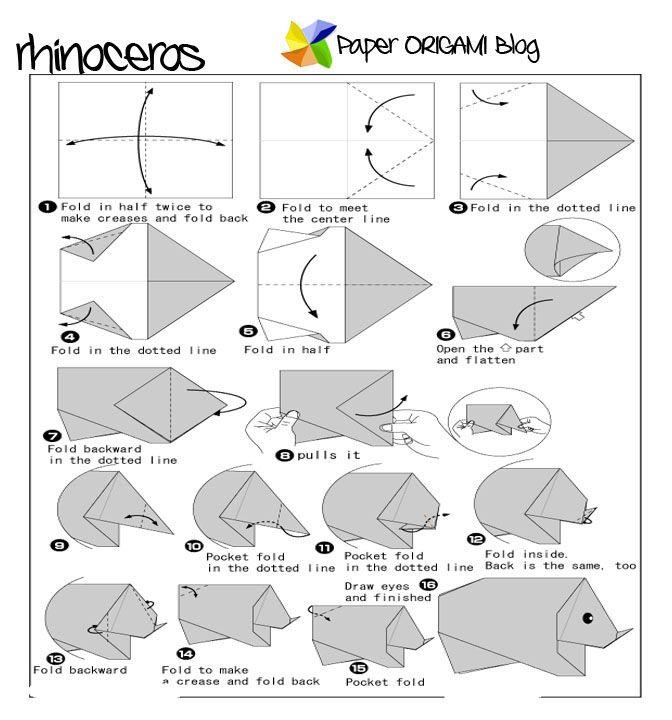 Rhino Origami Folding Diagram | Rhino | Pinterest | Origami ...