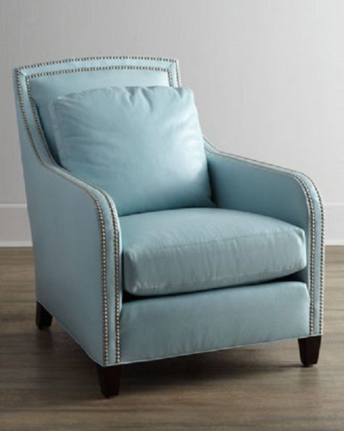 Delightful Lee Industries Federico Leather Chair Double Row Nailhead Trim Robin Egg  Blue | EBay