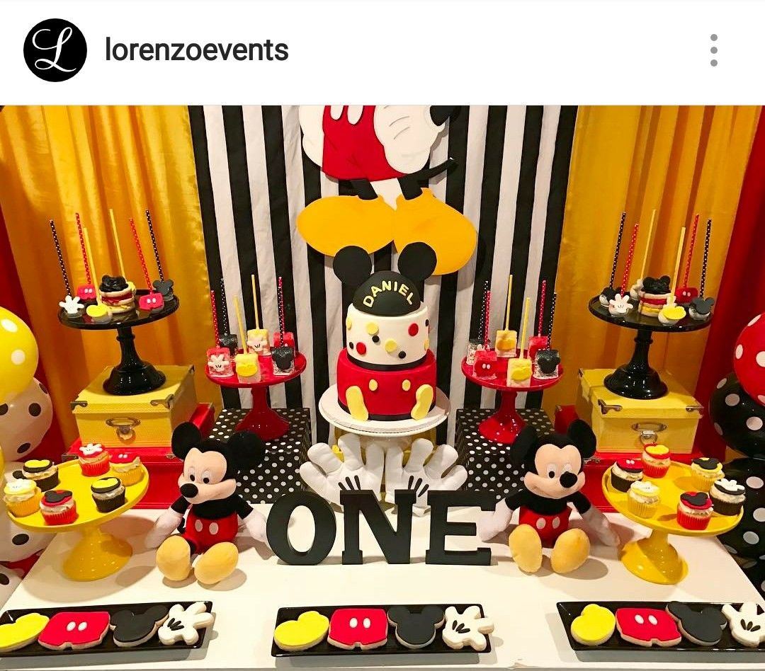 1st birthday mickey mouse dessert table and decor mickey for Table design for 1st birthday