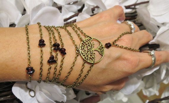 Tree of Life Hand Chain Slave Bracelet by TheMysticalOasisGlow, $26.00