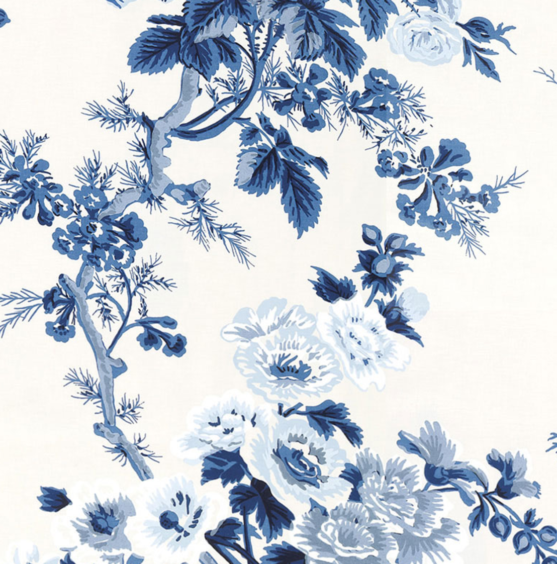 Pyne Hollyhock Wallpaper Blue Floral Wallpaper Blue White