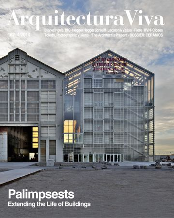 Arquitectura Viva. Nº 162 - Palimpsests: extending the life of buildings. Sumario: http://www.arquitecturaviva.com/es/Shop/Issue/Details/375 Na biblioteca: http://kmelot.biblioteca.udc.es/record=b1179679~S1*gag