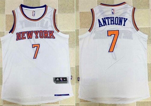 dcc77b6d60b2 Knicks  7 Carmelo Anthony White Revolution 30 Stitched NBA Jersey ...