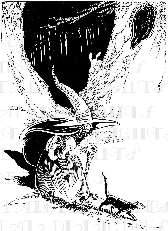 Vintage Halloween Witch Illustration. Vintage DIGITAL
