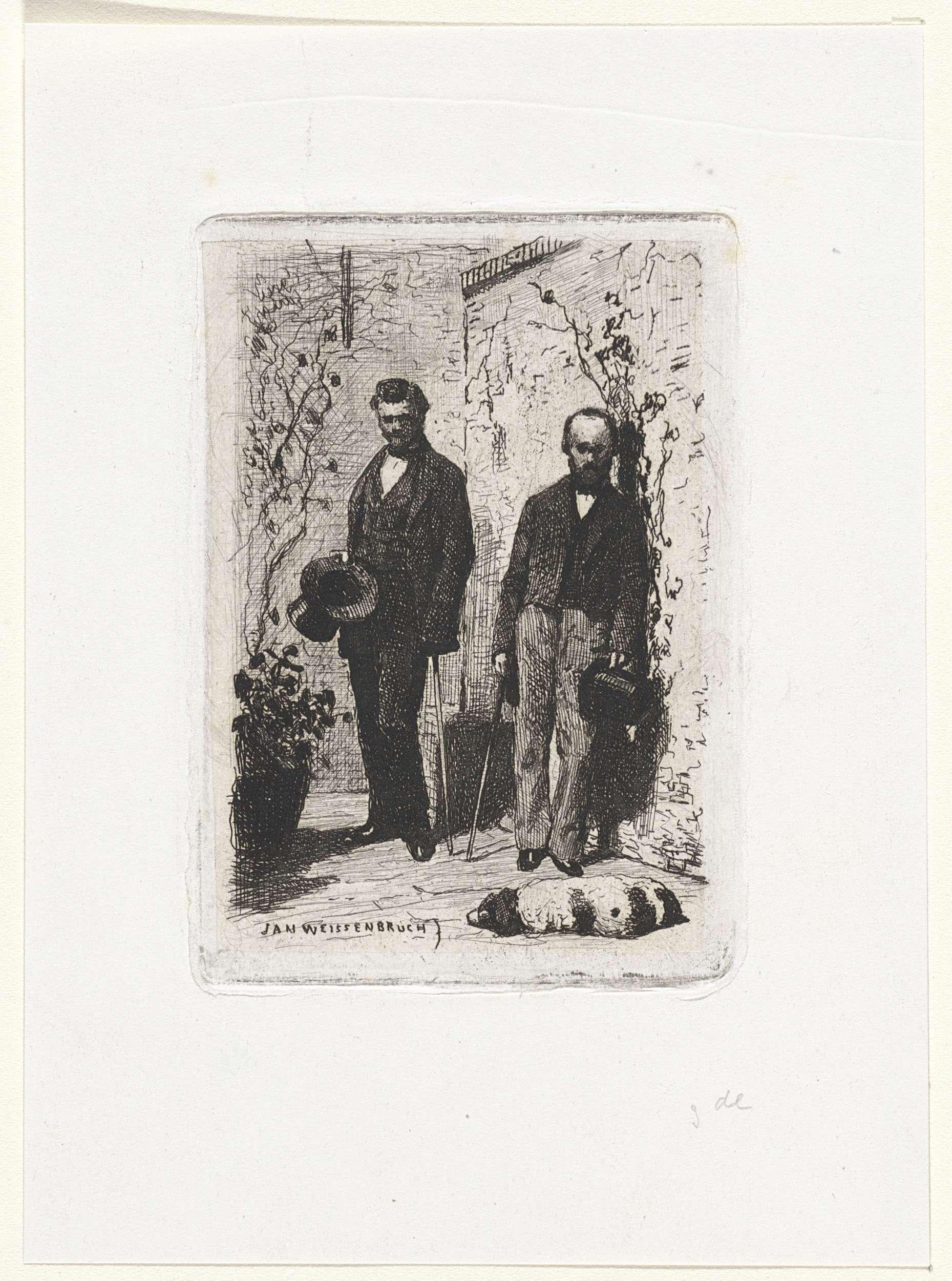 Jan Weissenbruch | Zelfportret met Frederik Hendrik Weissenbruch, Jan Weissenbruch, 1837 - 1880 | De kunstenaar Frederik Hendrik Weissenbruch (l) en zijn broer Jan Weissenbruch (r) staan bij een muur. Ze houden allebei een stok en een hoge hoed vast. Voor hen ligt een hond te slapen.
