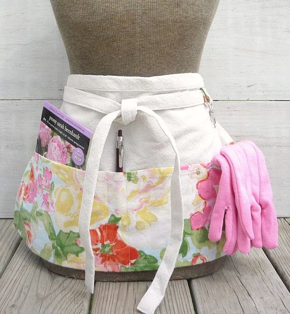 Floral Apron Pink Red Green Yellow Blue Womens By