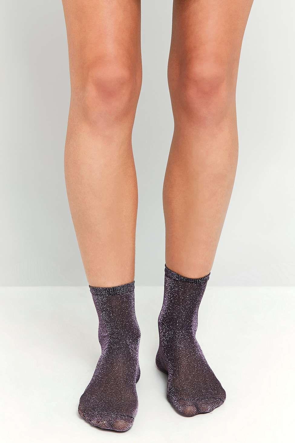 Chaussettes en lurex violettes