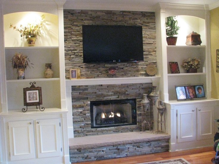 Image Result For Shelving Ideas Beside Stone Fireplace With Tv