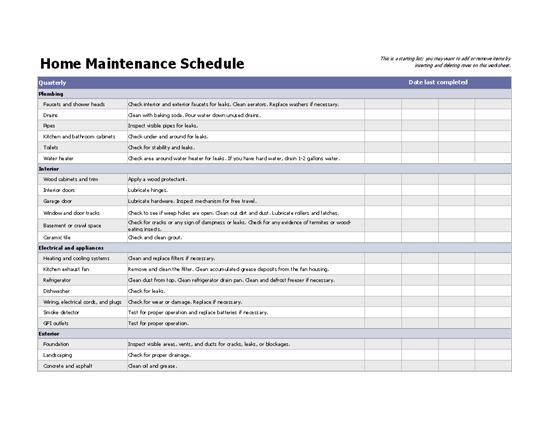 Office maintenance schedule.