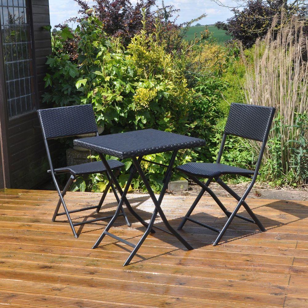 Attrayant 2 Seater Bistro Set Black Metal Rattan Square Table Lawn Garden Patio  Furniture