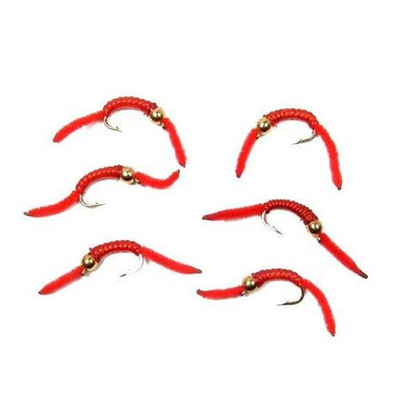 San Juan Worm Power Bead 12 Dozen Gold Bead Red VRib