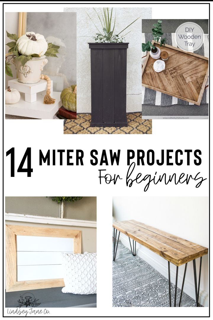 14 projects to help you decide what to make with the miter saw.  Fast and easy miter saw projects. Quick miter saw crafts for beginners. Bench, coffee table planter box and serving tray tutorials you can do with the miter saw. Quick miter saw crafts. Chop saw crafts. How to build a bench tutorial. #mothersdaygifts #diymothersdaygifts #diydecor  #diydecorating