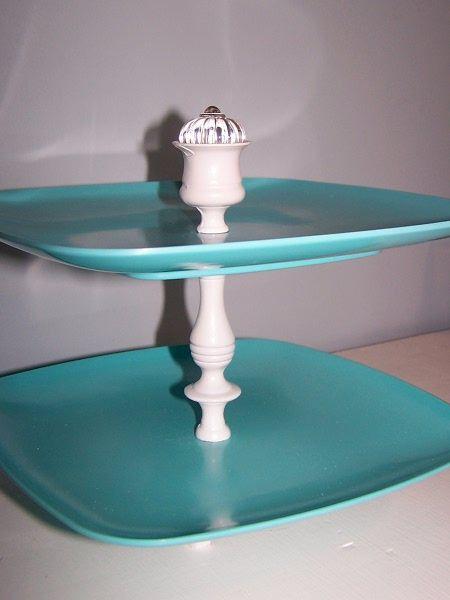DIY Tiered Cupcake Stand  candlestick  melamine plates  decorative glass knob & DIY Tiered Cupcake Stand :: candlestick  melamine plates ...
