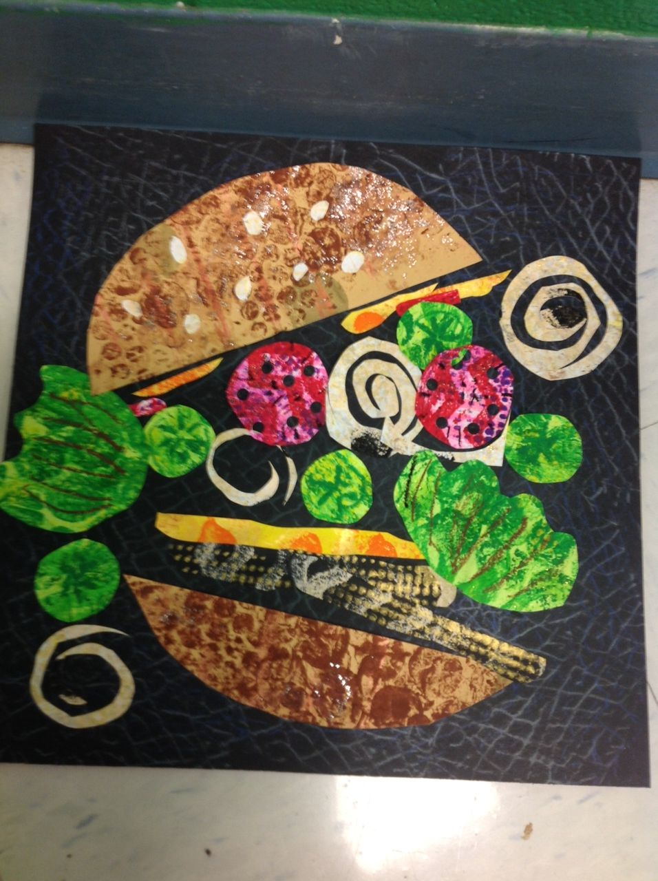 Colaborate With Mom For A Health Integration Grade Burger Collage After Printmaking Paper On Day Prints Different Color One Week