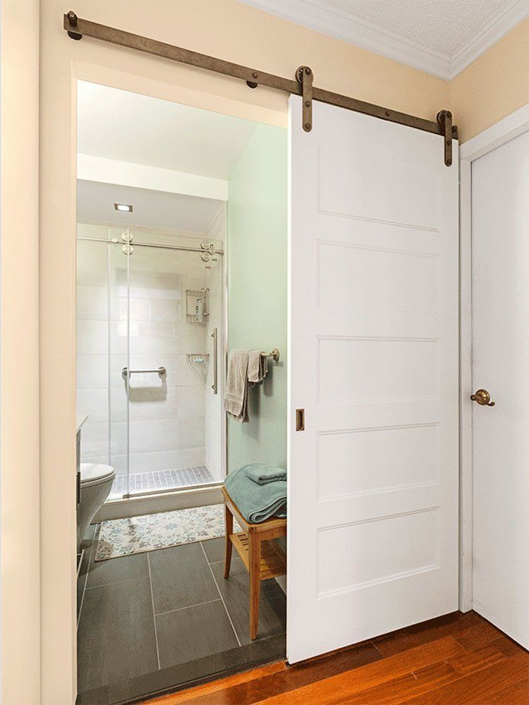 While They Re Short On Space These Small Bathrooms Make The Most Of Their Size With Interesting Designs Features And Storage S Interior Barn Doors Small