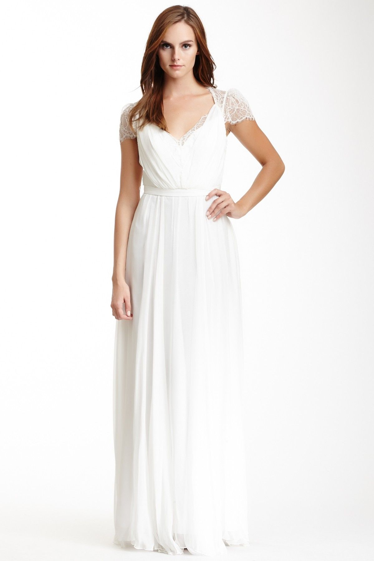 Lace bodice gathered gown with lace cap sleeves modest wedding