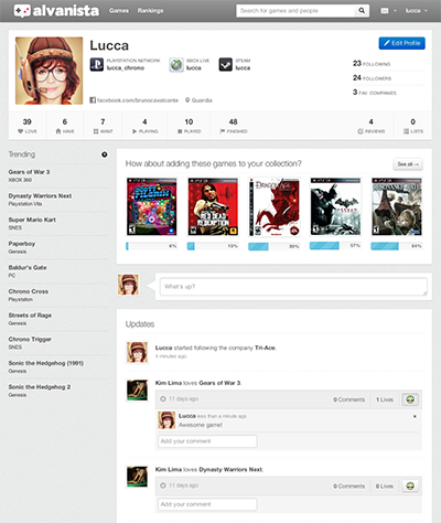 Alvanista is a social network for gamers built by fans and to fans.