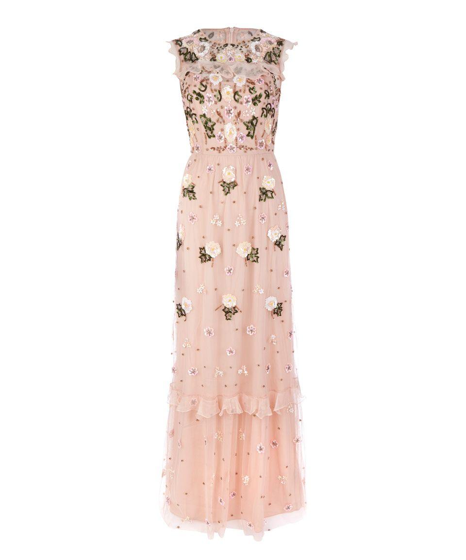 29ed56a3d6f8 Needle & Thread Light Pink Floral Frill Maxi Dress   Womenswear    Liberty.co.uk