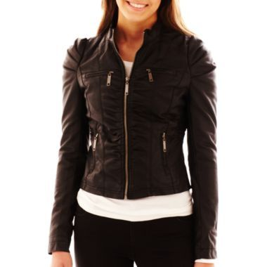 JCP Jou Jou Ruched Zip-Front Faux Leather jacket--Juniors ...