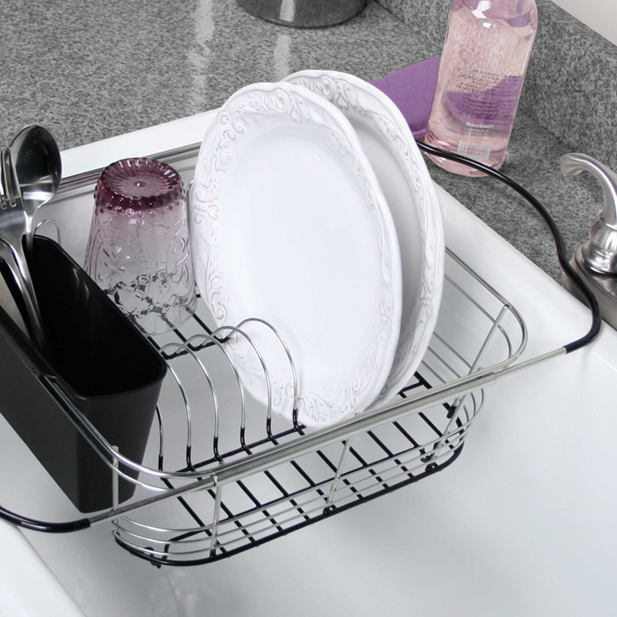 3 In 1 Expandable Dish Rack With Integrated Handles Dish Racks
