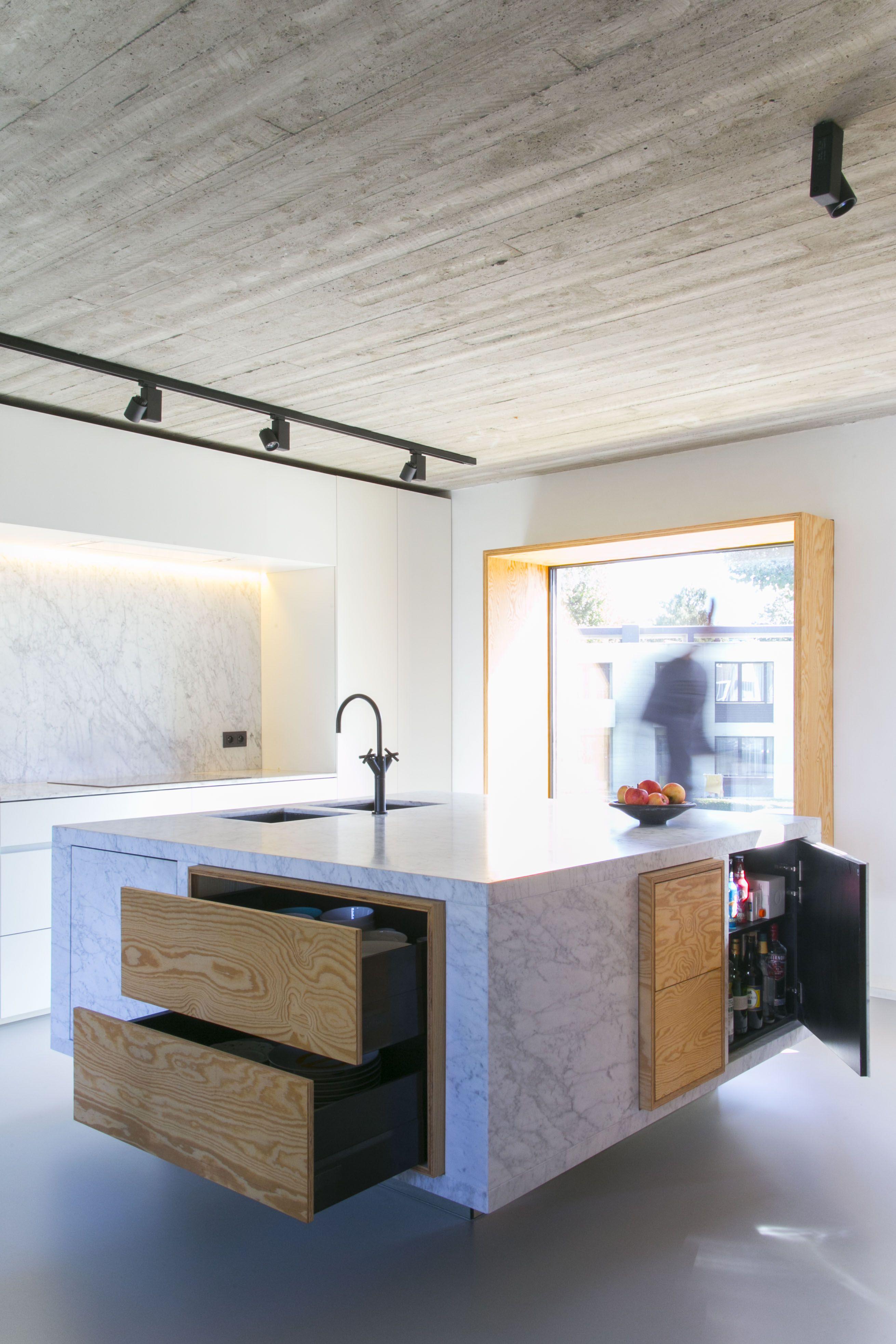 kitchen island design marble black Dornbracht tap pine plywood white ...