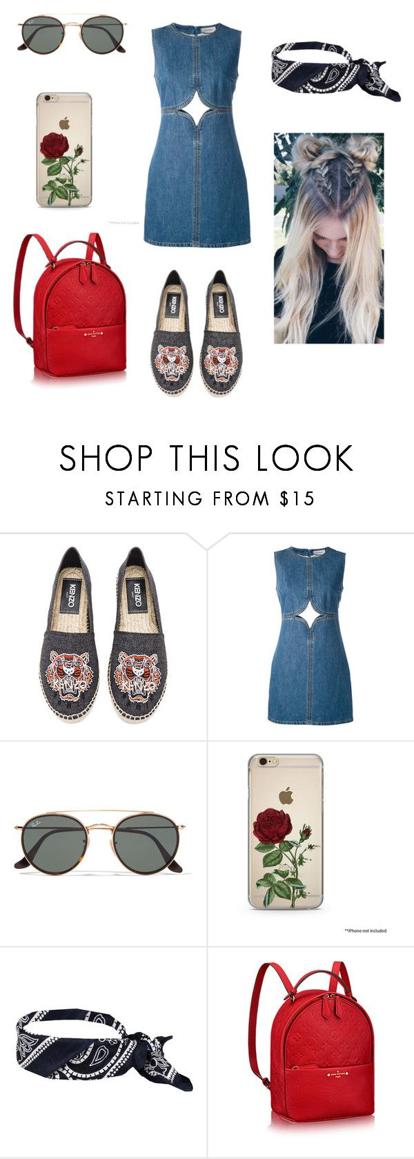 """""""Başlıksız #323"""" by recelliekmek ❤ liked on Polyvore featuring Kenzo, Courrèges and Ray-Ban"""