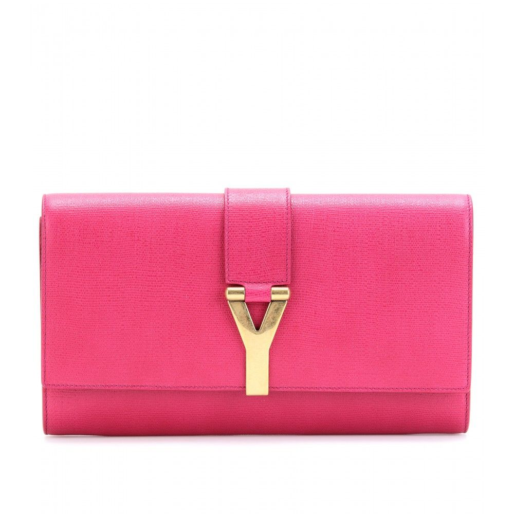 Yves Saint Laurent   -CHYC LEATHER CLUTCH WITH LOGO CLOSURE