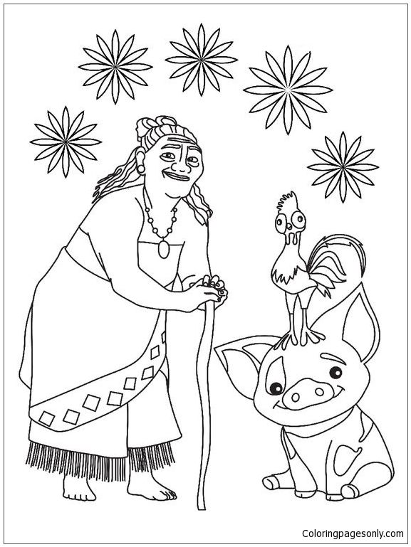Tala And Pua Pig From Moana Coloring Page Moana Coloring Pages Moana Coloring Disney Coloring Sheets