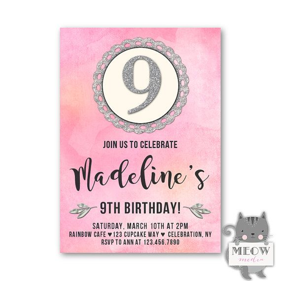 Watercolor 9th birthday invitations girls 9th birthday birthday watercolor 9th birthday invitations girls 9th birthday filmwisefo