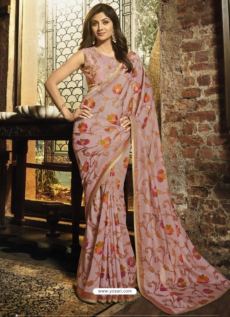 9f55bfe9c0738b Dusty Pink Silk Brasso Embroidered Party Wear Saree