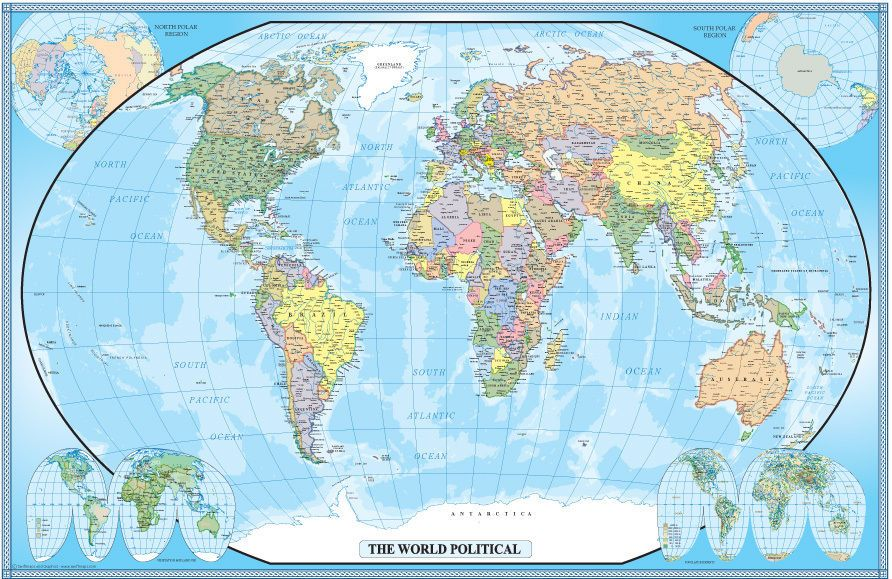 Large world map poster wall art print decoration 24x36 inches large world map poster wall art print decoration 24x36 inches swiftmapscom political gumiabroncs Gallery