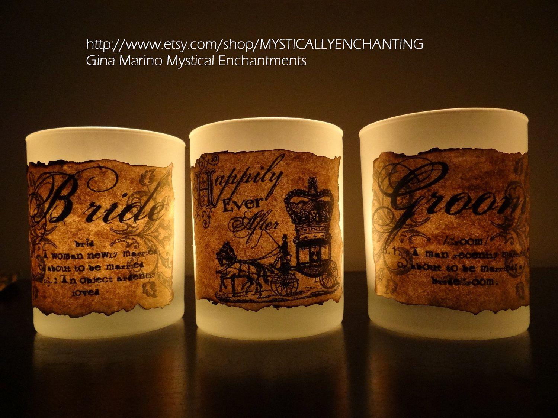 Wedding votive candle holder Vintage Inspired Set of 3. $16.50, via Etsy.