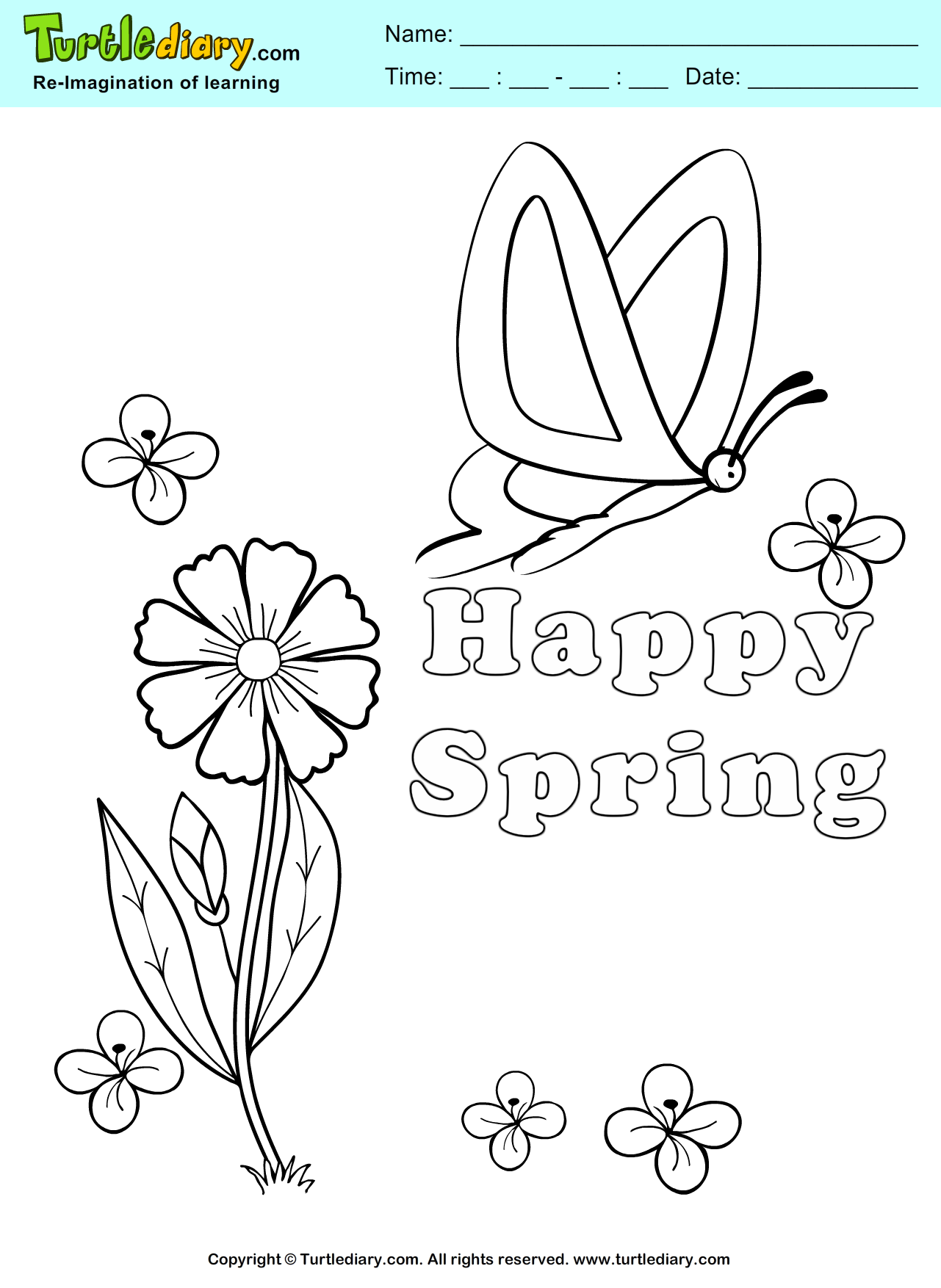 Happy Spring Coloring Pages Pictures
