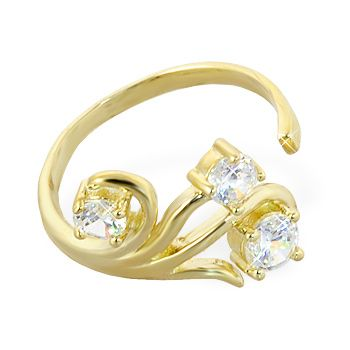 10k Solid Gold Toe Ring With Multi Gems Gold Body Jewellery Gold Toe Rings Toe Rings