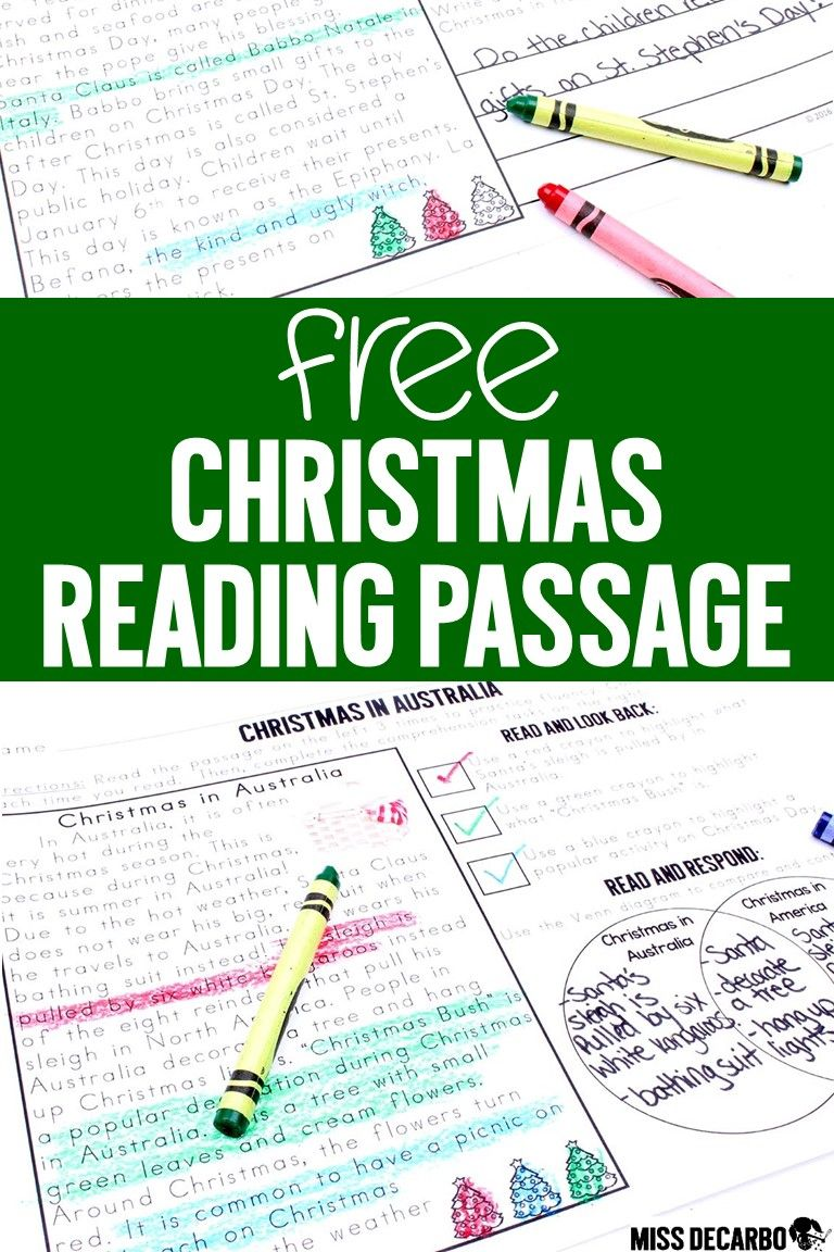 Free Christmas Activities Ideas And Games For Literacy Miss Decarbo Holiday Reading Passages Christmas Reading Passages Reading Comprehension Lessons [ 1152 x 768 Pixel ]