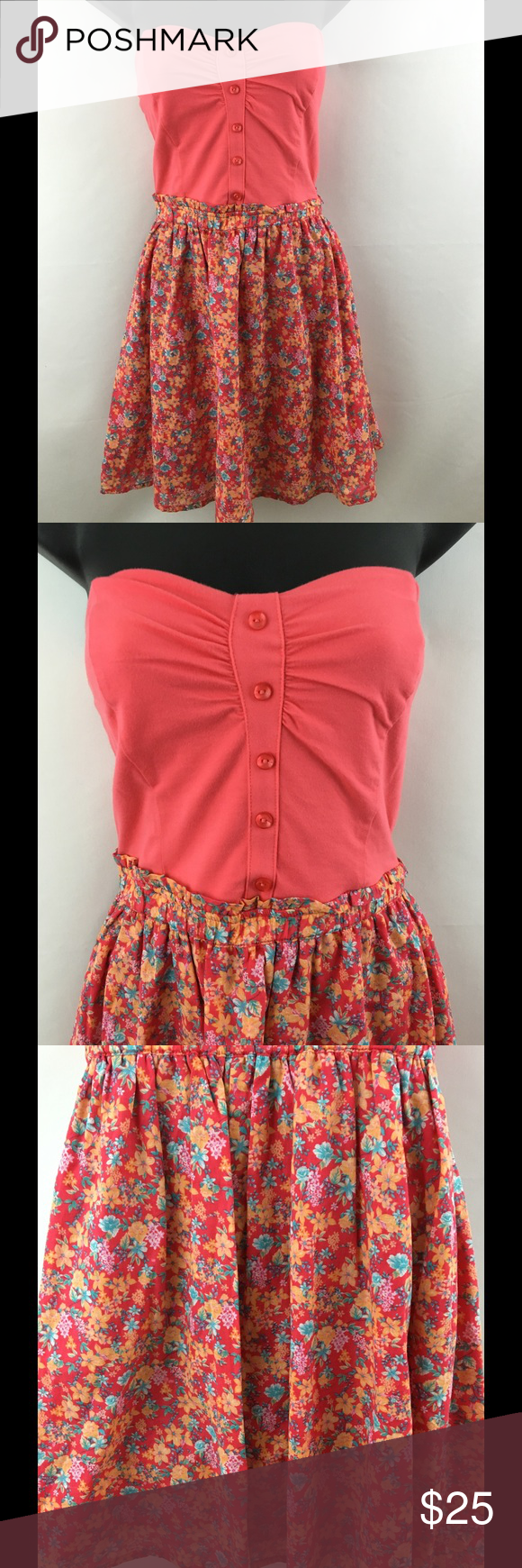 Strapless coral floral dress size M This is a very cute strapless dress by Bershka Collection it has a coral colored shirt op with a faux button up look. Skirt is a floral pattern in a mix of blue, yellow, pink and white. Size Medium Bershka Dresses Strapless